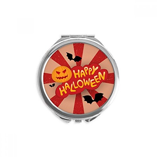 Cartoon Halloween Fonts Mirror Round Portable Hand Pocket -