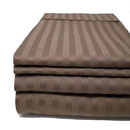 Taupe Damask Stripe - CinchFit Sheets - The Only Stay On and No Tear Design - Split Flex Top King - No Tear - Adjustable Bed Sheet Set 600 Thread Count 4PC 100% Cotton Smooth Sateen Finish and Damask Stripe (Taupe)