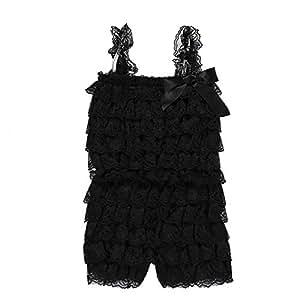 ZEVONDA Baby Girl Sleeveless Bodysuits - Summer Lace Romper Jumpsuit for Baby Toddler, Black/12-24 Months