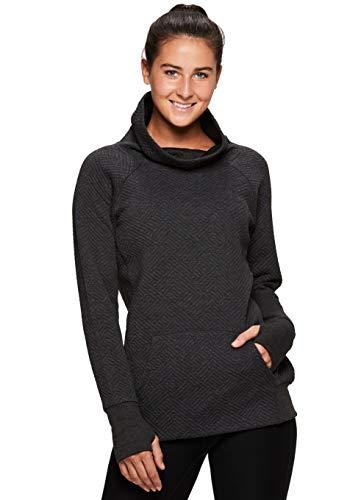 RBX Active Women's Cowl Neck Pullover Tunic Sweatshirts Top Grey Multi L