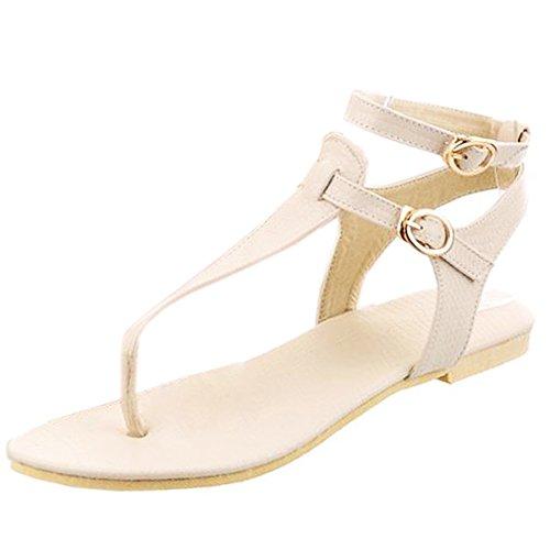 De Toe Back Cheville T Clip Sangle Femmes TAOFFEN Plat 771 Beige Sandales Mode Chaussures Open strap qRCBPnwax