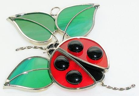 Ladybug Suncatcher in Real Stained Glass