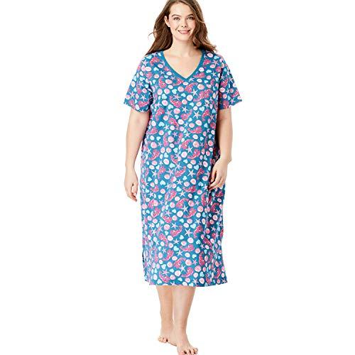 Dreams & Co. Women's Plus Size Long Print Sleepshirt - River Blue Lobster, - Sleepshirt Long
