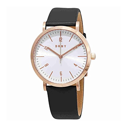 DKNY Women's 'Minetta' Quartz Stainless Steel and Leather Casual Watch, Color:Grey (Model: NY2652)