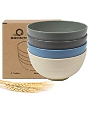 Shopwithgreen Kids Cereal Bowls - 24 OZ Wheat Straw Fiber Unbreakable Lightweight Bowl Sets 4 - Dishwasher & Microwave Safe Rice, Soup Bowls for Children