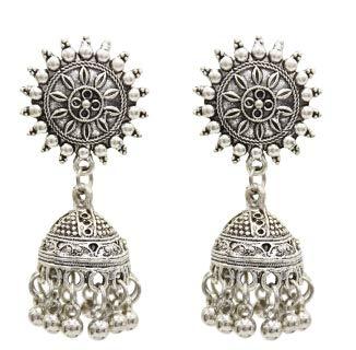 Ethnic Silver Indian Small Bells Beads Drop Tassel Earrings | for Women | Gift