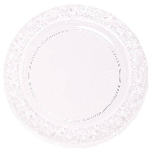 Party Joy 'I Can't Believe It's Plastic' 200Piece Plastic Dinner Plate Set   Lace Collection   Heavy Duty Premium Plastic Plates for Wedding, Parties, Camping & More (Clear)