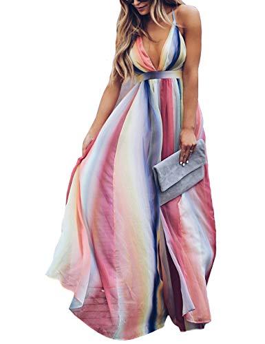 Kalin Women Bohemian Backless Spaghetti Strap V Neck Wrap Maxi Party Cocktail Dresses