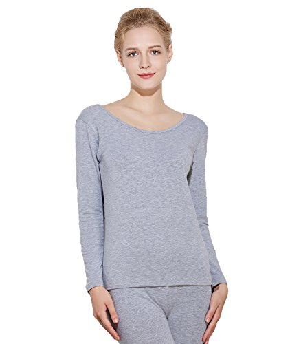 Liang Rou Women's Thermal Scoop Neck Shirt Grey M
