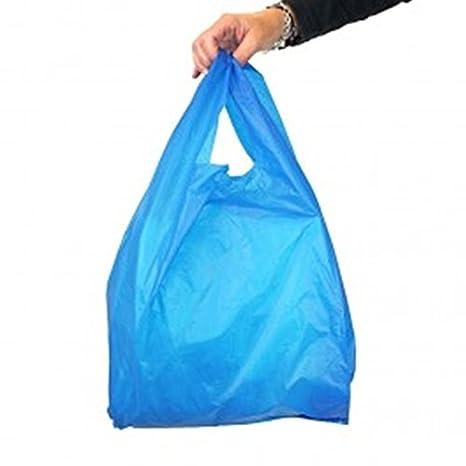 Super Super fuerte plástico azul chaleco bolsas (11 x 17 x ...