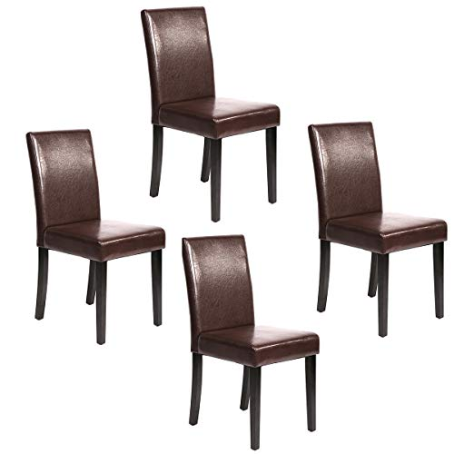 Espresso Finish Wood Side Chairs - FDW Set of 4 Urban Style Leather Dining Chairs with Solid Wood Legs Chair