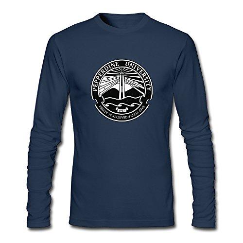 (Men Pepperdine University Seal Long Sleeve T-Shirt Navy)