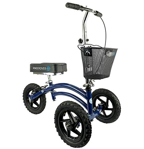 KneeRover All Terrain Steerable Knee Scooter Knee Walker Heavy Duty Crutches Alternative in Blue