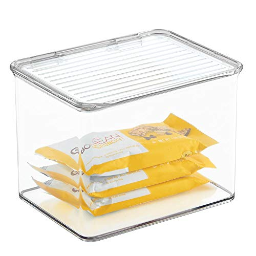 Hinged Lid - mDesign Plastic Stackable Kitchen Pantry Cabinet or Refrigerator Food Storage Container Bin, Attached Hinged Lid - Organizer for Snacks, Produce, Pasta - Deep Container - Clear