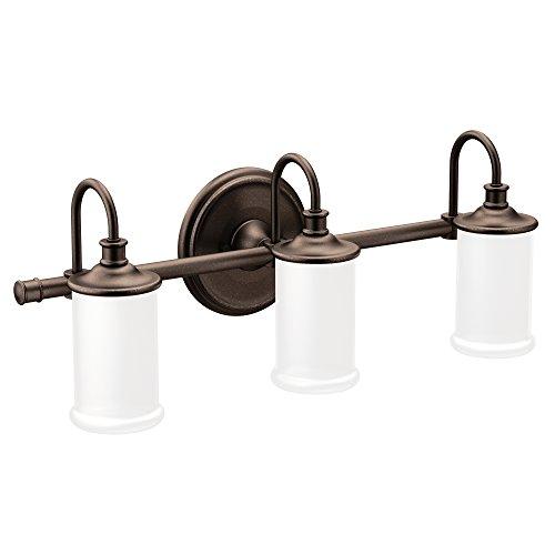 Moen YB6463ORB Belfield 3-Light Dual-Mount Bath Bathroom Vanity Fixture with Frosted Glass, Oil Rubbed Bronze