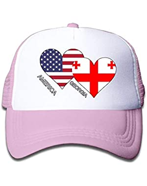 America Georgia Flag Heart On Children's Trucker Hat, Youth Toddler Mesh Hats Baseball Cap