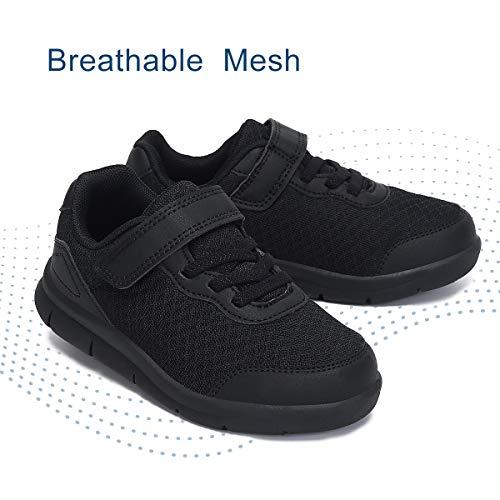 Nihaoya Kids Sneakers Boys Comfort Tennis Walking Shoes Breathable Athletic Running Trainers Black 6 Toddler