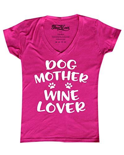 Shop4Ever Dog Mother Wine Lover Women's V-Neck T-Shirt XX-LargePink ()