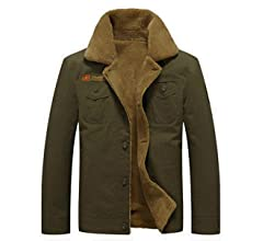 JEWOSOR Mens Winter Hooded Military Jacket Thicken Warm Wool Jacket Parka