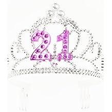 Forum Novelties Happy Birthday 21st Silver Pink Tiara