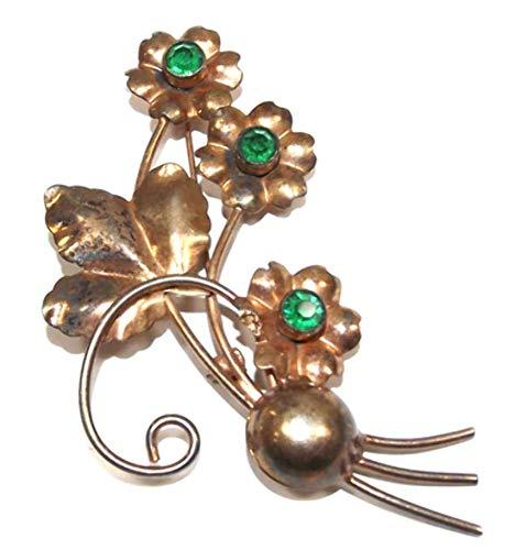 Vintage Mid-Century Sterling Silver Vermeil Flower Shaped Brooch Pin w/Green ()