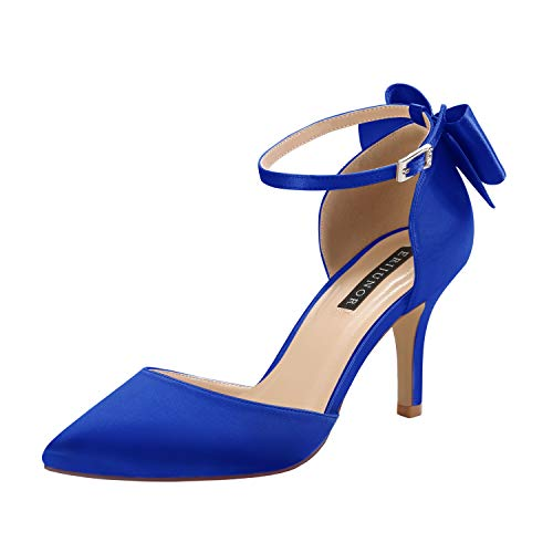 ERIJUNOR E1876B Wedding Evening Party Shoes Comfortable Mid Heels Pumps with Bow Knot Ankle Strap Wide Width Satin Shoes Blue Size 7