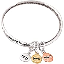 Our Father Lord's Prayer Faith Love Hope Women's Silver-Plated Mobius Bangle Charm Bracelet