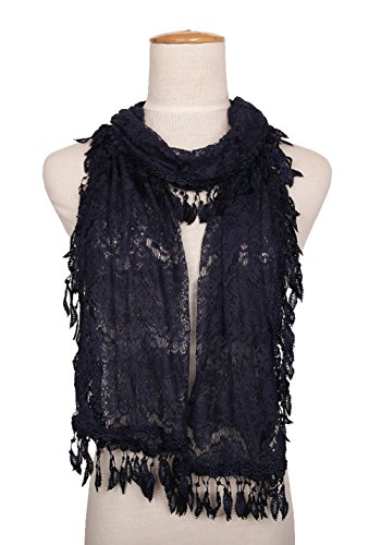 (MissShorthair Floral Print Lace Scarfs for Women with Fringes)