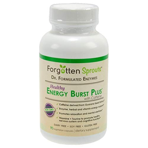 Healthy Energy Burst Plus Natural Non-GMO Herbal Supplement with Caffeine – No Crash or Jitters – Veg Capsules – 5% of Sales Donated to Charity