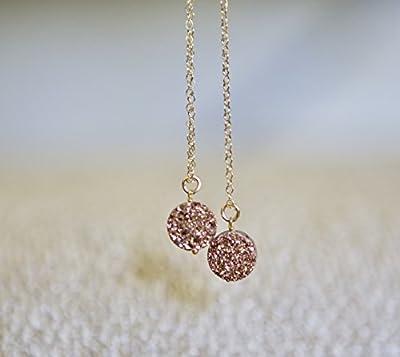 """Rose Druzy Gold Filled Necklace - 16"""" Length"""