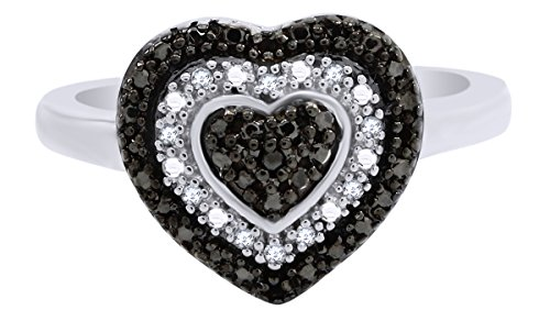 (Mothers Day Jewelry Gifts Sterling Silver 1/10 Cttw Black Diamond Heart Ring)