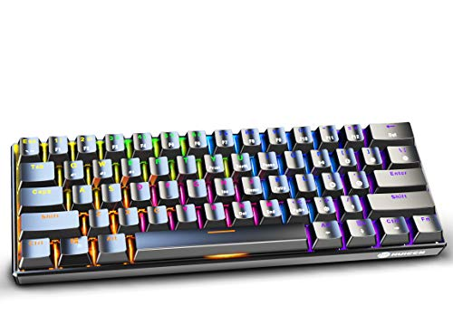 Mechanische Gaming Tastatur Kabellose, 61 Tasten RGB LED Hintergrundbeleuchtung Gaming Keyboard, 60% Layout Bluetooth 3.0 USB TypC Wireless Keyboard, 2000 mAh Batterie (General Layout)