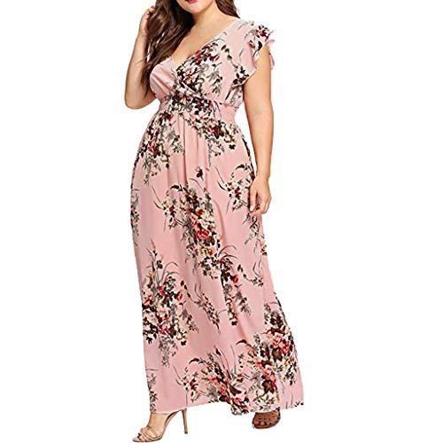 CmmYYrei Plus Size Women Dress Summer V Neck Floral Print Chiffon Boho Ruffle Sleeve Party Maxi Dress Elastic Band Pink