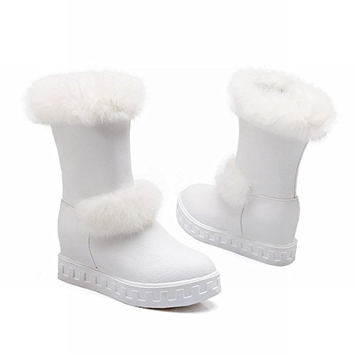 Carolbar Womens Faux Fur Sweet Cute Fashion Zipper Spring & Fall Hidden Wedge Heel Boots White An4WW