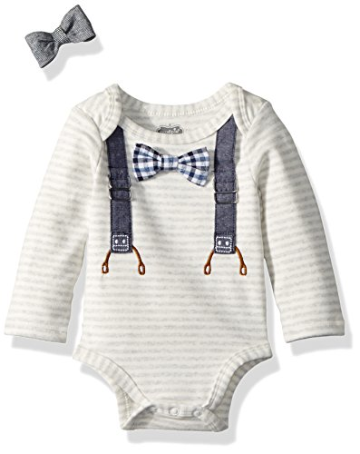 Mud Pie Baby Boys Easter Long Sleeve Bowtie One Piece Crawler With Bow Ties, Brown, 0-3 (One Piece Crawler)