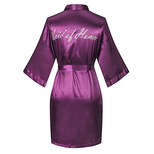 Joy Bridalc Satin Wedding Robes with Clear Rhinestones-Bride&Bridesmaid Edition Short Kimono,Maid of Honor Edition, Purple L]()