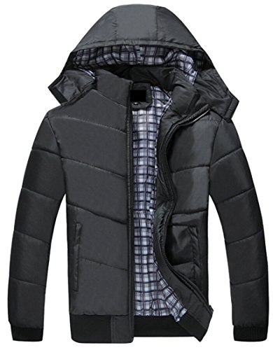 M&S&W Men's Thicken Removable Hood Quilted Jacket Coats Black