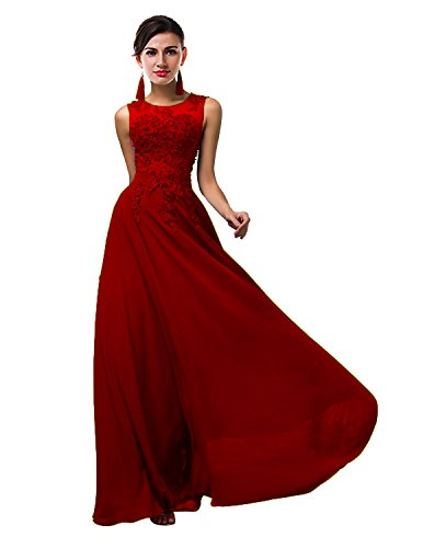VaniaDress Women Elegnat Lace Sheer Neck Bridesmaid Evening Dress Prom Gown V002LF Red US24W from VaniaDress