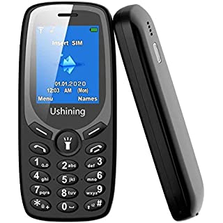 Ushining 3G Unlocked Basic Phone Dual SIM Card Unlocked Feature Phone with 1.8 Inch Screen Easy to Use Basic Cell Phone for Elderly and Child (Black)