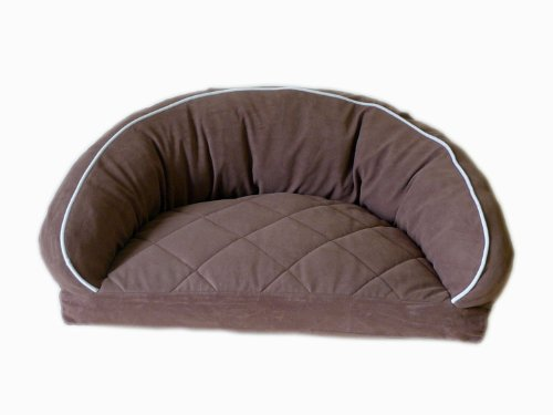 CPC Diamond Quilted Semi Circle Chocolate Lounge for Dogs and Cats with Linen Piping, 27 x 19 x 10-Inch