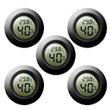 Digital LCD Hygrometer Thermometer Jestar 5 Pack Mini Round Thermometer Wireless Indoor Outdoor Monitor Humidity Temperature Gauge Meter for Humidifiers Dehumidifiers Greenhouse Basement Babyroom