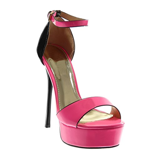 5 Lanière Cheville Femme Lanière cm Verni Aiguille Rose 14 Talon Mode Angkorly Sandale Haut Stiletto Plateforme Chaussure Escarpin xqFpgw4q