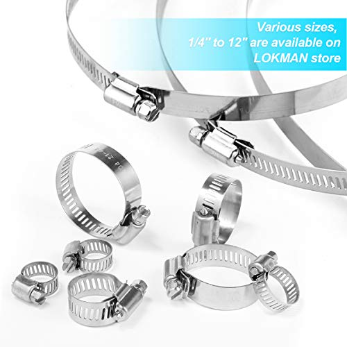 LOKMAN Hose Clamp 60 Pieces Stainless Steel Adjustable 6 38mm Range Worm Gear Hose Clamp Fuel Line Clamp for Plumbing Automotive and Mechanical Applications