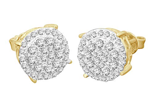 - 10k Yellow Gold Stud Earring Real Diamonds Jewelry for Men Women (0.98 ct, SI1-I1 Clarity, H-I Color), 10mm