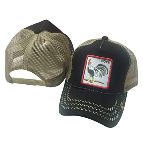 Doiber 1pc Unisex Animals Embroidery Patch Baseball Cap Hip Hop Snapback Mesh Trucker Hat(Rooster Black)