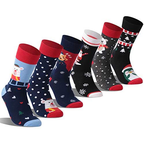 Christmas Printed Socks, RTZAT Men and Women Cotton Soft Cartoon Holiday Gift Sock, 6 Pairs for $<!--$18.99-->