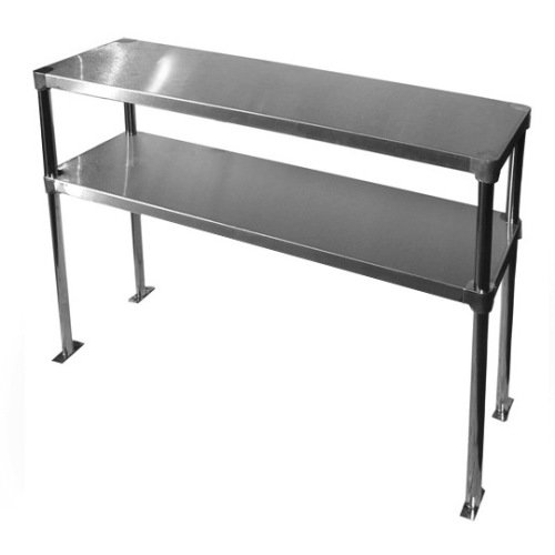 Stainless Steel Adjustable Double Overshelf for Work Table 12 x 48 - Top Mount