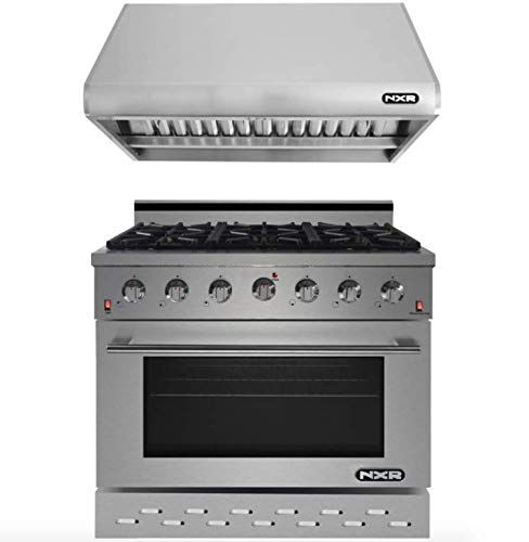 NXR RHBD SC3611 Bundle 36 in. 5.5 cu. ft. Professional Style Gas Range Hood