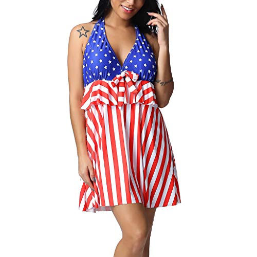Tantisy ♣↭♣ Women's Plus Size Two Pieces Swimsuit V-Neck Star and Stripes Halter Swimdress with Built in Swim Brief Red