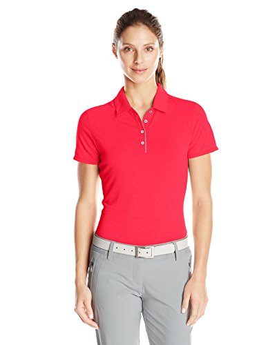 adidas Golf Women's Golf Essentials Short Sleeve Polo Shirt, Ray Red, Large